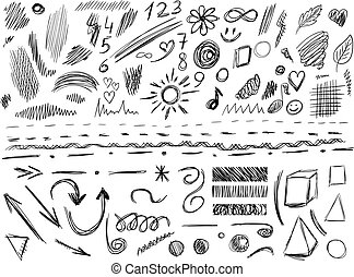 Big set of 105 hand-sketched design elements, VECTOR illustration isolated on white. Black scribble lines.