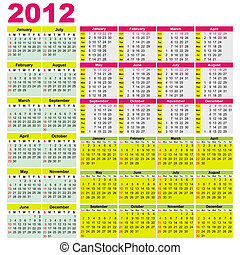 Big set of 2012 calendars. Different types (Starts...