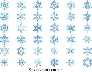 Big set of 36 blue snowflakes