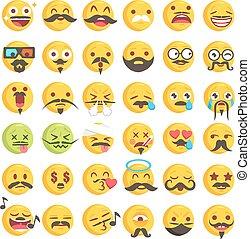 Big set of 36 moustache emojis
