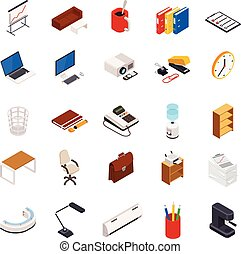 Big set of 3D isometric volumetric of icons on a theme of office equipment.