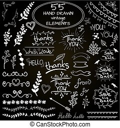 Big set of 55 hand drawn design elements. VECTOR. Blue on white