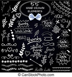 Big set of 55 hand drawn design elements. VECTOR. White on black with realistic white bow