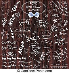 Big set of 55 hand drawn design elements. VECTOR. White on wooden background with realistic bow
