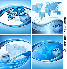 Big set of abstract technology and business backgrounds Vector illustration