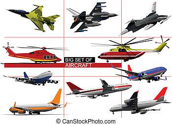 Big set of aircraft. Vector illust