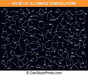 Big set of all famous constellations, modern astronomical signs of the zodiac.