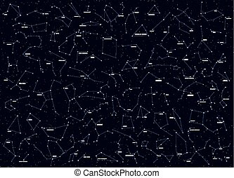 Big set of all famous constellations, modern astronomical signs the zodiac. Sky Map with the name of the stars and constellations.