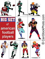 Big set of American football playe