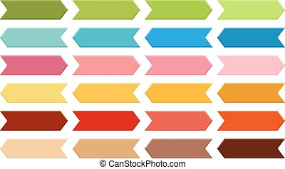 Big set of arrows in shades of green, blue, pink, orange, red and brown with 3d effect
