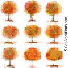 Big Set of Autumn Inspired Trees with Colorful Leaves. Vector illustration.