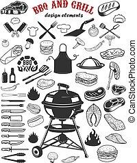 Big set of BBQ and Grill design elements. Kitchen tableware, grilled meat, salmon meat, burger, sandwich, pepper, mushrooms, tomatoes. Elements for logo, label, emblem, sign poster, restaurant flyer. Vector illustration