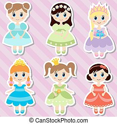 Big set of beautiful princesses.