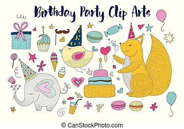 Big set of birthday party vector clip arts. Cute hand drawn animals and cartoon elements.