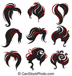 """Big set of black hair styling for woman (from my big """"Hair styling series"""")"""