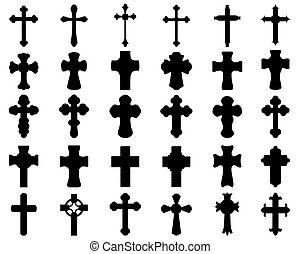 silhouettes of different crosses
