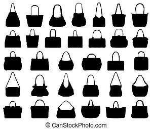handbags - Big set of black silhouettes of handbags, vector
