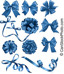 Big set of blue gift bows with ribbons. Vector illustration.