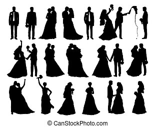 big set of bride and groom silhouettes - big set of black...