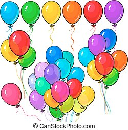 Big set of bright and colorful balloons on white background