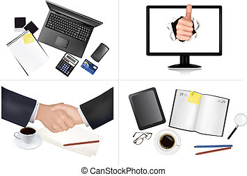 Big set of business and office backgrounds. Vector...