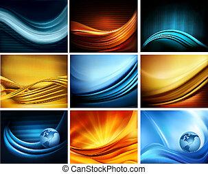 Big set of business elegant colorful abstract backgrounds. Vector illustration