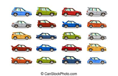 Big set of cars. Collection vehicle. Sedan, hatchback, roadster, SUV. The image of toy machines. Isolated objects on a white background. Vector illustration. Flat style