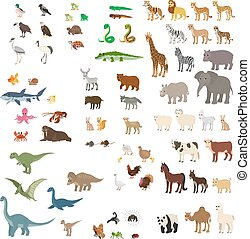 Big set of cartoon animals.