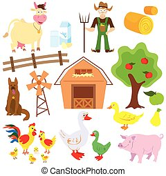Big set of cartoon characters and elements of the farm.
