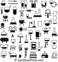 set of cartoon mechanisms silhouettes - big set of cartoon...