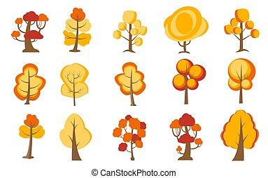 Big set of cartoon trees. Yellow, orange plants with for vegetation spring and autumn backyard