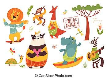 Big set of cartoon wild forest animals.