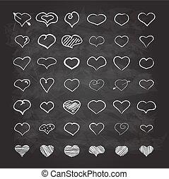 Big set of chalk hearts hand-drawn scribble design