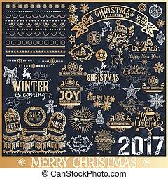 Big set of Christmas calligraphic design elements.