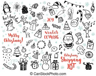 Big set of Christmas design element in doodle style