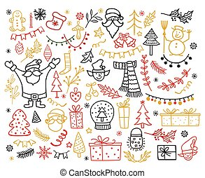 Big set of Christmas design element in doodle style. Winter holiday vector illustration