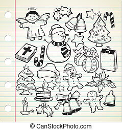 Big set of christmas doodle