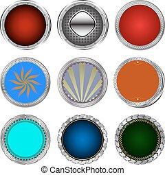 Big set of color glossy buttons.