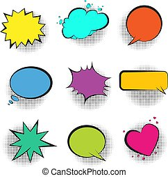 Big set of color retro comic speech bubbles