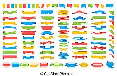 Big set of colored Ribbons. Vector illustration