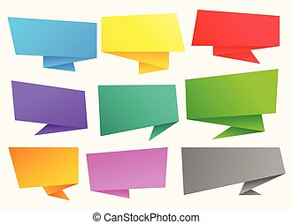 big set of colorful chat bubble origami banners