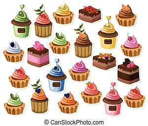 Big set of colorful desserts. Tartlet, cheesecake, mousse Vector illustration