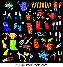 big set of colorful gardening tools and equipments on black back
