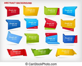 Big set of colorful origami paper banners. Vector illustration.