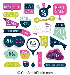 Big set of colorful sale stickers, bubbles, ribbons. Vector illustration.