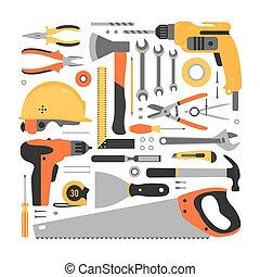 Big set of construction tools.