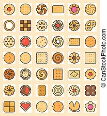 Big set of cookies, biscuit and cracker outline filled color icon size 128 px pixel perfect