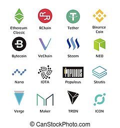 Big set of crypto currency logo coins Bitcoin, Nem, Dash, Litecoin, Monero, Ethereum, Dash, Ripple, and other