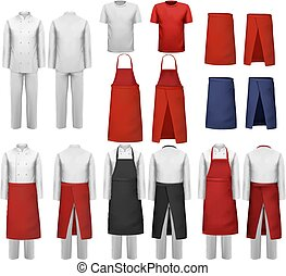 Big set of culinary clothing, white and red suits and aprons...