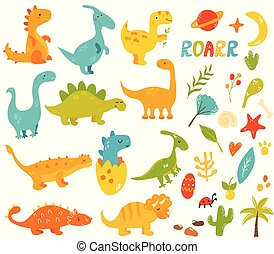 Big set of cute and cool hand drawn dinos, elements - Big...